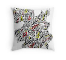 Triangles Design 4 Red, Yellow with Black Stripes Throw Pillow
