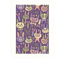 Funny Bunnies Violet Art Print