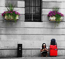 Crouching Texter by incurablehippie