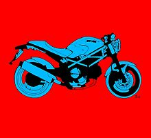 Red and blue Ducati Monster by drawspots