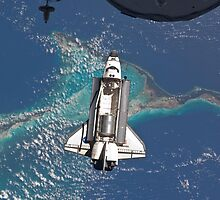 The Space Shuttle in Orbit Around The Earth - As seen from the ISS by verypeculiar