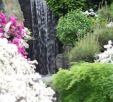 Waterfall With Azaleas by Michael Keller