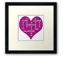 Hot Pink Marble Heart With Words Framed Print