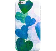 Fab Green & Blue Grungy Hearts Design iPhone Case/Skin