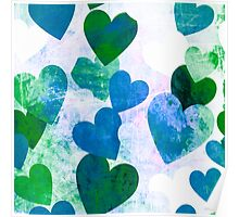 Fab Green & Blue Grungy Hearts Design Poster