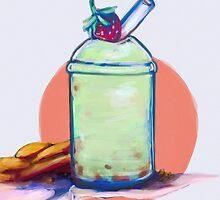 Green milk tea w/Gingersnap Cookies by minnnti