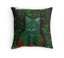 Christmas Kitty Throw Pillow