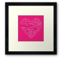 Words of Love Bright Pink Designer Art Framed Print