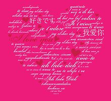 Words of Love Bright Pink Designer Art by innocentorigina