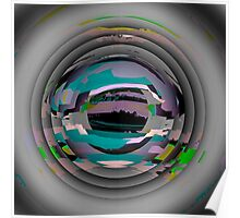 Tunnel Vision, flipped photo, ABSTRACT, TEXTILE ART, blue, plum, multicolored  Poster