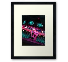 Pink and Purple Carnival, Oil Painting of Carousel, horse and faces Framed Print