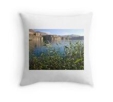 Afghan mountain lake Throw Pillow