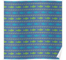 American Shad Fish Pattern - Green & Blue Fish on Dark Blue Background Poster