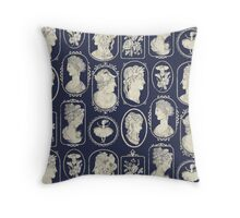 Cameos - blue Throw Pillow