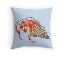 hermit crab in blue Throw Pillow