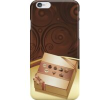 Brown Background with Chocolate Box iPhone Case/Skin