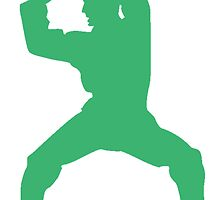 Green Martial Artist Silhouette by kwg2200