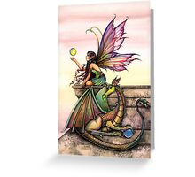 Dragons Orbs Fairy and Dragon Art by Molly Harrison Greeting Card