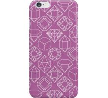 Diamond Gem Shape Cut Outlines, Pink, Blue, Yellow, Orange, Green, Teal, Pink, Magenta iPhone Case/Skin