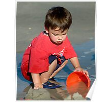 Water and Sand = Happy Child Poster