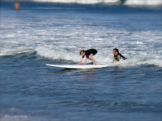 Learning to surf at Narragansett Beach by Jack McCabe