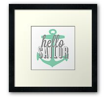 Hello Sailor Mint Anchor Design Framed Print