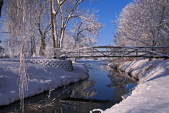 Bridge Over Icy Water by John Absher