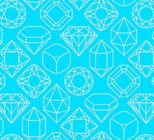 Diamond Gem Shape Cut Outlines, Pink, Blue, Yellow, Orange, Green, Teal, Pink, Magenta by zencenter