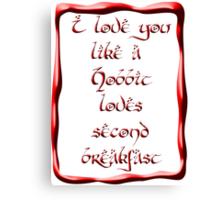 Valentine's Day #5 - Hobbit Love Canvas Print