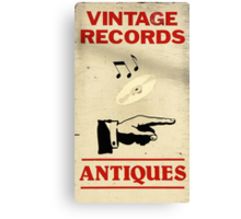 Vintage Antiques Record Sign Canvas Print