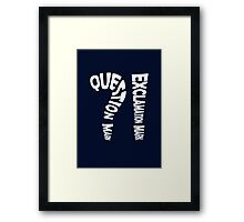 Question Mark Exclamation Mark (white design) Framed Print
