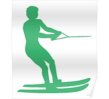 Green Water Skier Silhouette Poster
