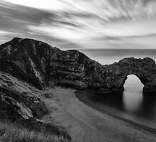 Durdle Door in black and white by Ian Middleton
