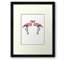 Pink flamingos in love Framed Print