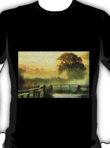 An English Country Scene in the Mist - all products T-Shirt