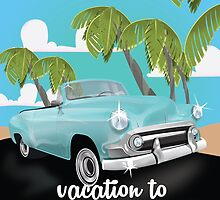 Vintage Miami travel poster by Nick  Greenaway