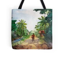 landscape watercolor Indian village, a cyclist on the road Tote Bag