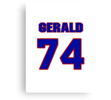 National football player Gerald Nichols jersey 74 Canvas Print