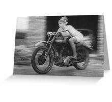 Woman on Motorcycle Greeting Card