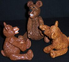 Polymer Clay Jointed Bears by imakebeadz