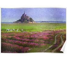 mont st. michel flowers and grazing sheep Poster