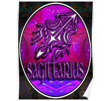 SAGITTARIUS Zodiac Sign Colorful Fractal Psychedelic Design Poster