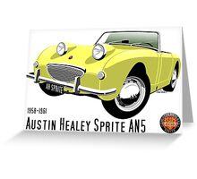 Austin Healey Frogeye Sprite primrose yellow Greeting Card
