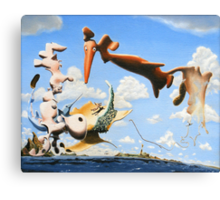 "Surreal Friends - oil on canvas - 20"" x 16"" Canvas Print"