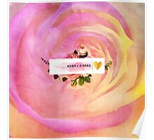 Beautiful, surreal, abstract, colorful,rose,floral, art,LOVE,heart,valentine,template,customizable,lovely,trendy,girly Poster