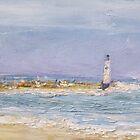 Sandbank with lighthouse. by Raymond  Hedley