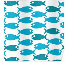 Blue fish pattern Poster