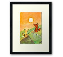two dogs on a green hill Framed Print