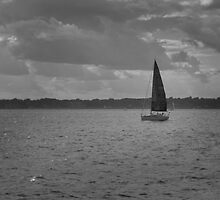 boat on Narragansett Bay, Newport, RI by colleenboston