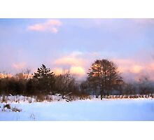 Watercolor Winter - Colorful Day on the Lake Photographic Print